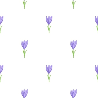 간단한 파란색 개요 크 로커 스 꽃과 원활한 낙서 패턴
