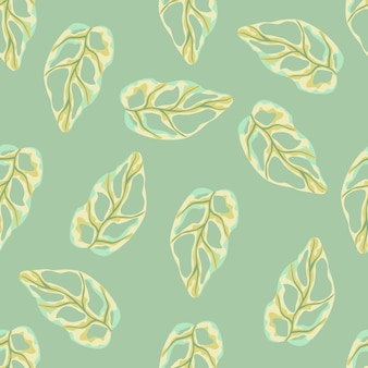 Seamless doodle pattern with simple monstera yellow shapes. light green background