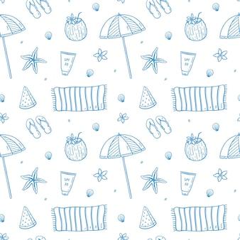 여름 휴가 요소와 원활한 낙서 패턴