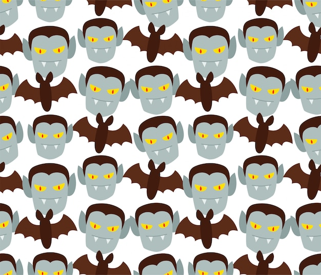 Seamless dracula and bat pattern