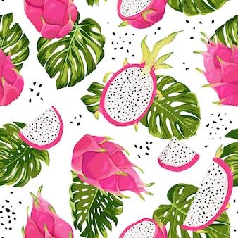Бесшовные дракон фрукты узор, акварель питайя и монстера листья фон. нарисованная рукой текстура тропических фруктов лета. векторная иллюстрация обложка, тропические обои, старинный фон