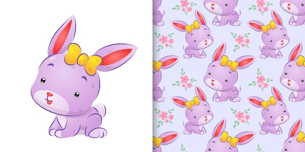 Seamless drawing of the colored rabbit with the cute ribbon on her head illustration