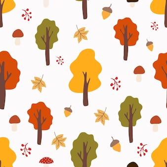 나무와 원활한 그리기 가을 가을 나무와 흰색 배경에 버섯을 나뭇잎