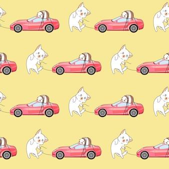 シームレスな描かれたかわいい猫はピンクのスポーツカーのパターンを運んでいます。