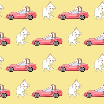 Seamless drawn kawaii cat is hauling a pink sport car pattern.