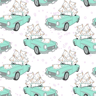 Seamless drawn kawaii cats in green car pattern.