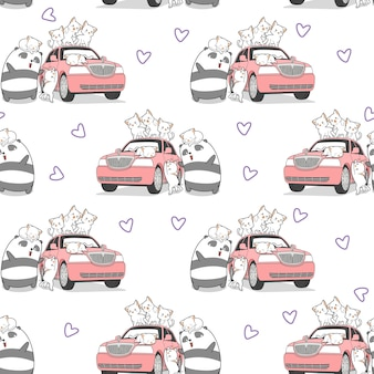 Seamless drawn kawaii cats and panda with pink car pattern.