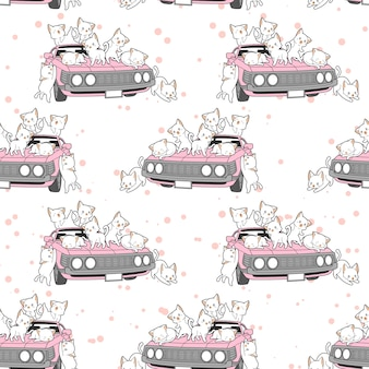 Seamless drawn kawaii cats and pink car pattern.