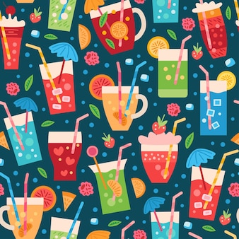 A seamless drinks pattern. summer tropic backdrop with fruit cocktail