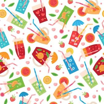 A seamless drinks pattern. summer tropic