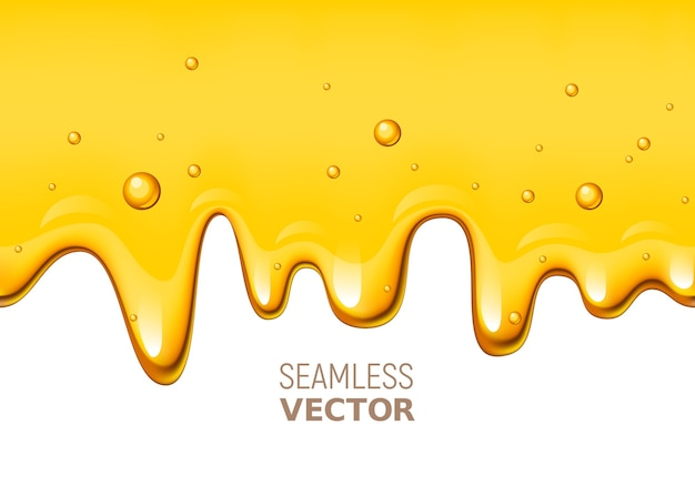 Seamless dripping honey on white background. global colors