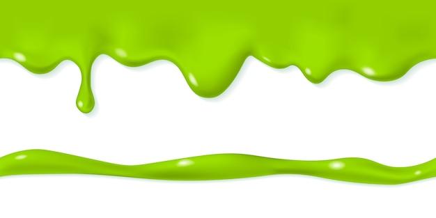 원활한 떨어지는 점액 패턴. 반복 가능한 스며 나오는 녹색 액체. 흐르는 녹은 독성 얼룩. 가로 테두리