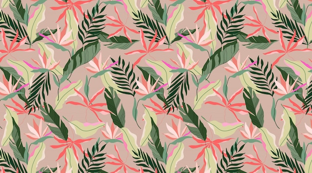 Seamless earthy colour exotic hawaiian pattern. tropical design for web and print. strelitzia flowers, beige, red and soft green leaves on a red background. modern hand drawn  pattern design.