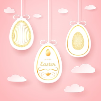 Seamless easter background with paper golden eggs