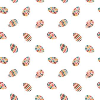 원활한 부활절 달걀 패턴 벡터 일러스트 레이 션 흰색 배경에 고립