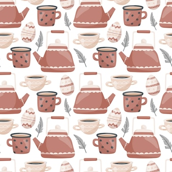 Seamless easter pattern. cute doodle, teapot and mugs with tea or coffee, painted eggs and feathers.