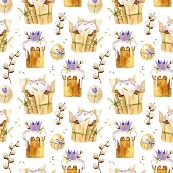 Seamless easter pattern with easter cakes