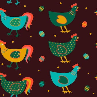 Seamless easter pattern with eggs and chicken.
