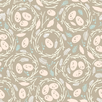 Seamless easter pattern with nests.