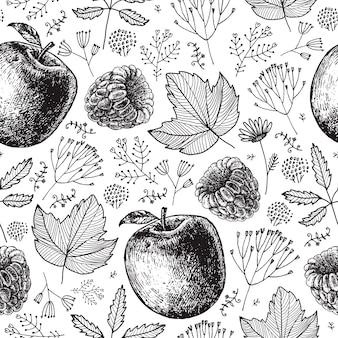 シームレスなエコ、秋、自然のパターン。手描きのリンゴ、ベリー、葉、植物。黒と白の背景、ラップ製品のパッケージ