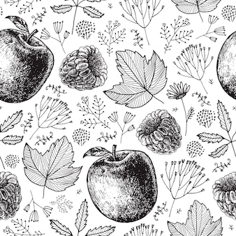 Seamless eco, autumn, nature pattern. hand drawn apples, berries, leaves, plants. black and white background, wrap product packaging