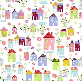 Seamless Editable Background of Hand-Drawn Village Pattern.