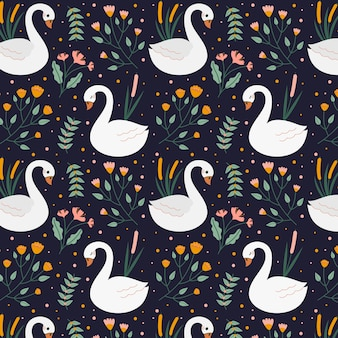 Бесшовный элегантный узор с лебедями и цветами