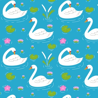Seamless elegant pattern with swans and water lilies