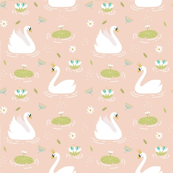 Seamless elegant pattern with swans