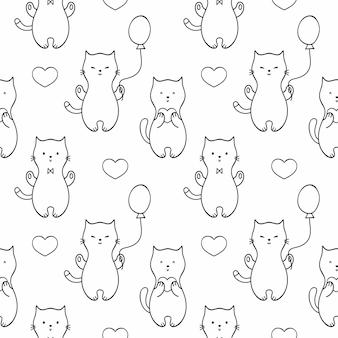 귀여운 새끼 고양이, 고양이, 풍선과 함께 매끄러운 끝없는 패턴입니다. 벡터 낙서 삽화의 집합입니다. 직물 인쇄, 벽지, 직물, 포장지 또는 책 표지의 배경.