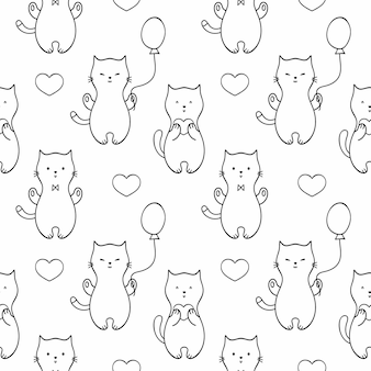 Seamless endless pattern with cute kittens, cats and balloons. set of vector doodle illustrations. background for fabric print, wallpaper, textiles, wrapping paper, or book cover.