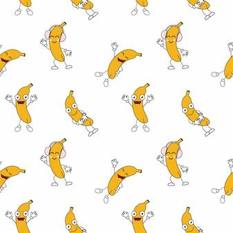 Безшовная бесконечная картина с забавными бананами. обложка книги. пошив детской одежды из текстиля. материал для упаковочной бумаги.
