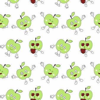 Seamless endless pattern with funny apples. the cover of the book. tailoring of children's clothing from textiles. material for packaging paper. background and wallpaper.