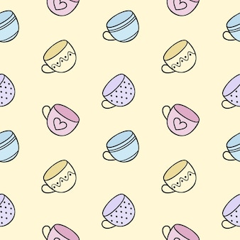 Seamless endless pattern with tea mugs. the cup's doodle is hand-drawn on a yellow background.pattern for textiles, printing, clothing, packaging paper. background and wallpaper for the site.