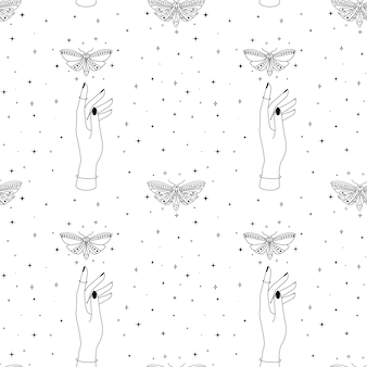 Seamless esoteric pattern with celestial butterfly hands and mystic moth magical starry occult backg...