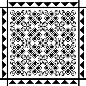 Seamless ethnic pattern black and white vector illustration