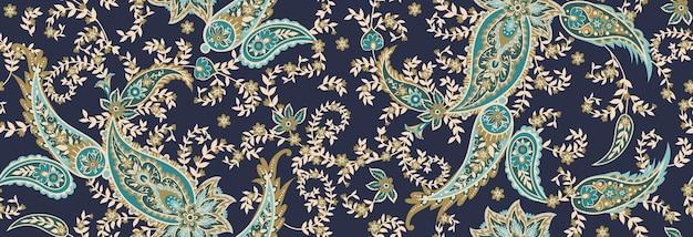 Бесшовный этнический узор из пейсли и декоративных цветочных ветвей. индийский мотив. векторный фон