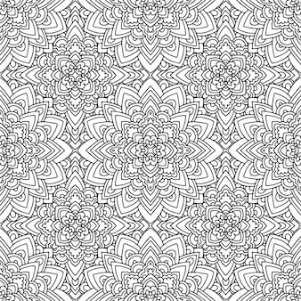 Seamless ethnic pattern with american indian motifs in black and white colors. aztec background.