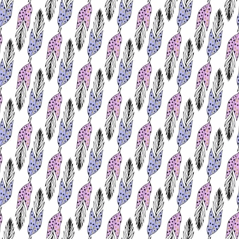 Seamless ethnic pattern with hand drawn feathers in pastel colors. vector background. use for wallpaper, textile, pattern fills, packaging design, web page background.