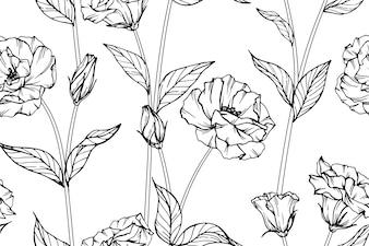 Seamless Eustoma flower pattern background.