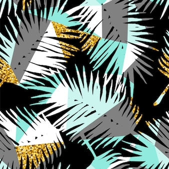 Бесшовный экзотический узор с тропическими растениями и геометрический фон.