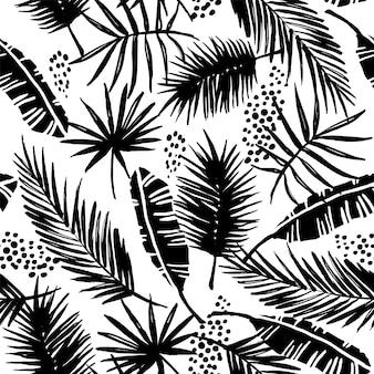 熱帯植物とシームレスなエキゾチックなパターン。