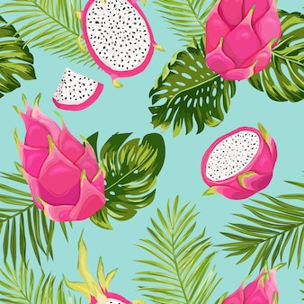 Seamless exotic watercolor dragon fruit pattern, pitaya background with palm leaves in watercolor style. vector illustration