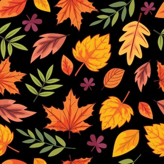 Seamless fall leaves pattern background