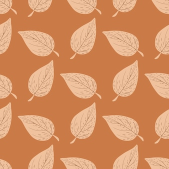 落書きのアウトラインの葉のシルエットとシームレスな秋のパターン。