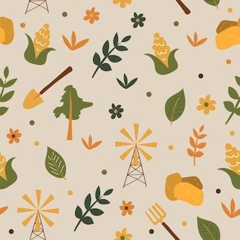 Seamless farm pattern background - growing corn and potatoes