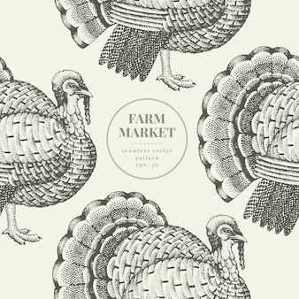 Seamless farm vector pattern. graphical turkey silhouette