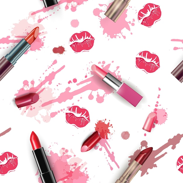 Seamless fashion and cosmetics background with make up artist objects  vector illustration