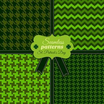 シームレスなファッションパターンは、さまざまなテクスチャでog緑の色を設定します。聖パトリックの日のお祝い。