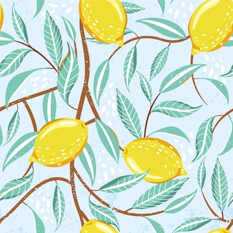Seamless fashion pattern with fresh lemon fruits, leaves and abstract element.